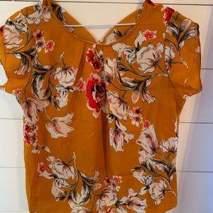 Burnt orange floral shortsleeve blouse